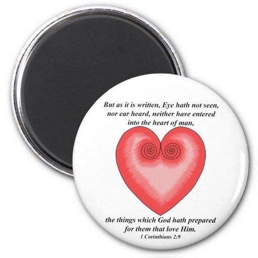 Pink Heart / Love Inspirational Bible Verse Magnet