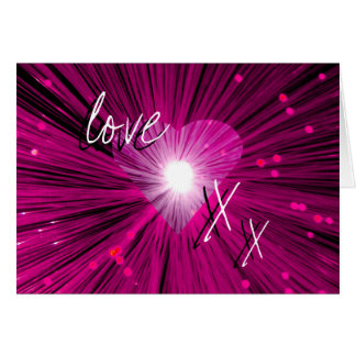 Pink Heart 'love & kisses' greetings card