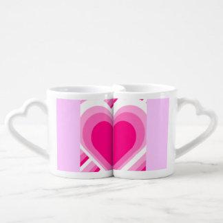 Pink Heart Love Mugs Couples' Coffee Mug Set