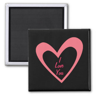 Pink Heart Square Magnet