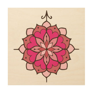 Pink Heart Mandala Wood Wall Art