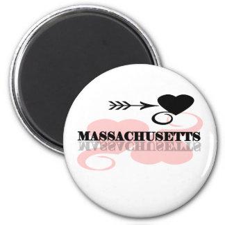 Pink Heart Massachusetts 6 Cm Round Magnet