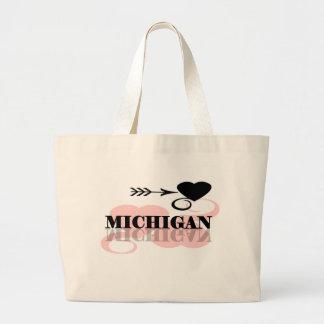 Pink Heart Michigan Large Tote Bag