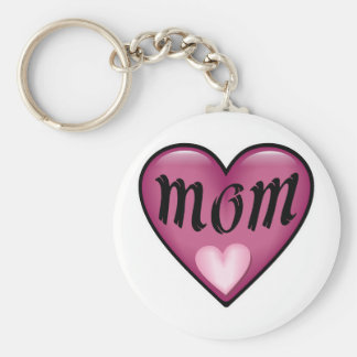 Pink Heart Mom Basic Round Button Key Ring