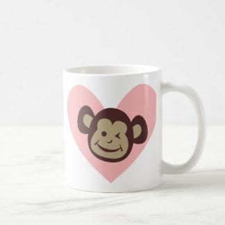 Pink Heart Monkey Tees and Gifts - Customise Basic White Mug