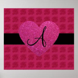 Pink heart monogram roses print