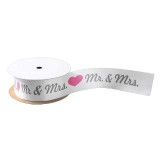 Pink Heart Mr. & Mrs. Wedding Satin Ribbon