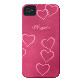 Pink heart outlines iPhone 4 case
