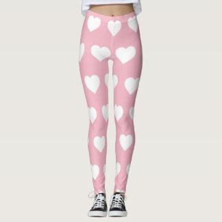 Pink Heart Pattern Valentines Day Leggings