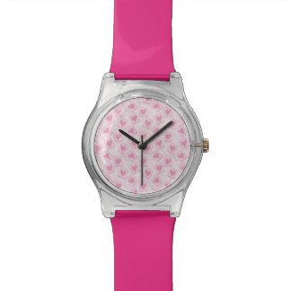 Pink Heart Pattern Watch
