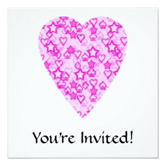 Pink Heart. Patterned Heart Design. 13 Cm X 13 Cm Square Invitation Card