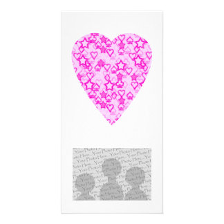 Pink Heart. Patterned Heart Design. Photo Card