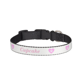 Pink Heart Paw Print Dog Collar