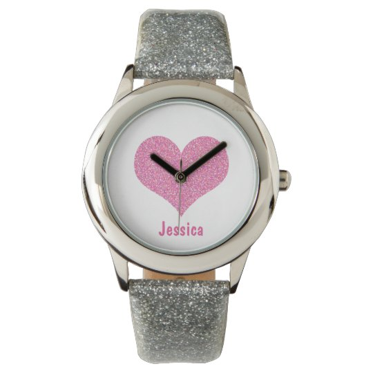 Pink Heart - Personalised Girly Name Watch