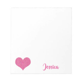Pink Heart Personalized Girly Name Notepad