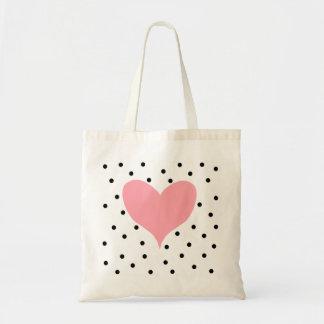 Pink Heart Polka Dots Budget Tote Bag