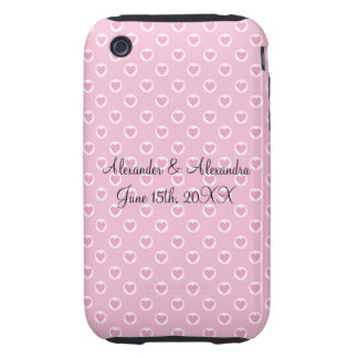 Pink heart polka dots wedding favors tough iPhone 3 covers