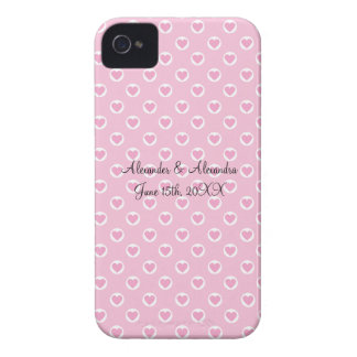 Pink heart polka dots wedding favors iPhone 4 covers