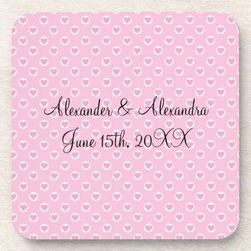 Pink heart polka dots wedding favors beverage coaster