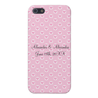 Pink heart polka dots wedding favors cases for iPhone 5