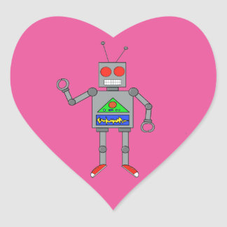 Pink Heart Red Shoes Robot Stickers