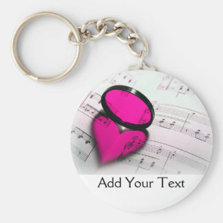 Pink Heart Reflection on Sheet Music Key Ring