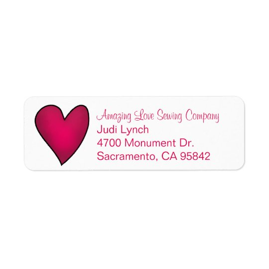 Pink Heart Return Address Label