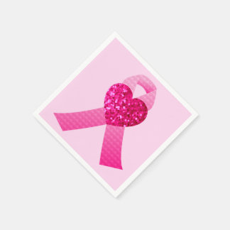 Pink Heart Ribbon Breast Cancer Awareness Paper Napkins