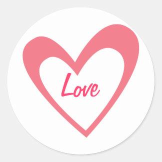 Pink Heart Round Sticker