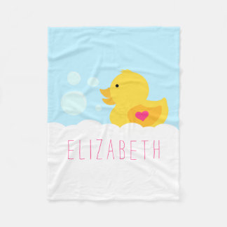 Pink Heart Rubber Ducky Fleece Blanket