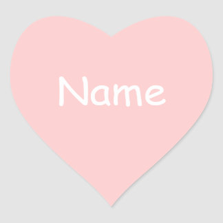 Pink Heart Shape Name Sticker