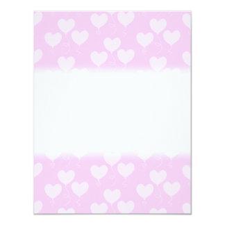 Pink Heart Shaped Balloons Pattern. 11 Cm X 14 Cm Invitation Card