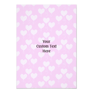 Pink Heart Shaped Balloons Pattern. 13 Cm X 18 Cm Invitation Card