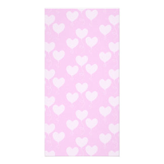 Pink Heart Shaped Balloons Pattern. Photo Card Template