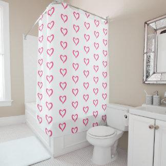 Pink heart shower curtain