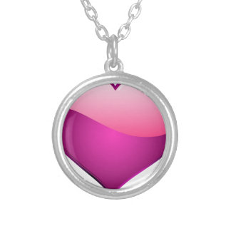 Pink Heart Silver Plated Necklace