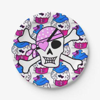 Pink Heart Skull Cupcake Crossbones Plates
