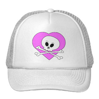 Pink Heart Skull Mesh Hat
