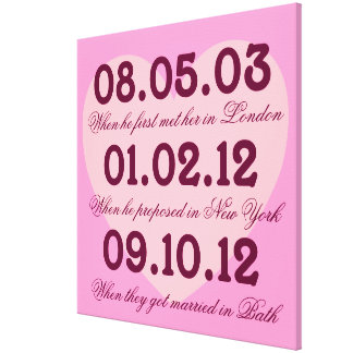 Pink Heart Special Dates Stretched Canvas Canvas Print