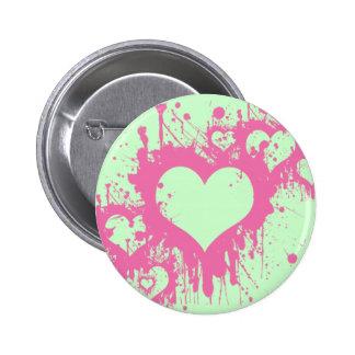 PINK HEART SPLATTER 6 CM ROUND BADGE