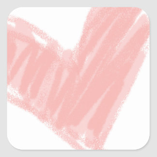 Pink Heart Square Sticker