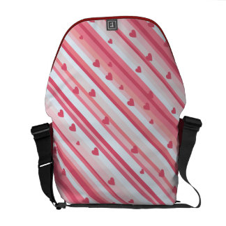 Pink Heart Stripes Courier Bags