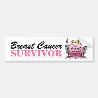 Pink Heart Survivor Car Bumper Sticker