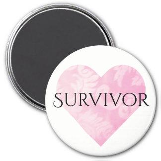 Pink Heart Survivor Magnet, Round Magnet
