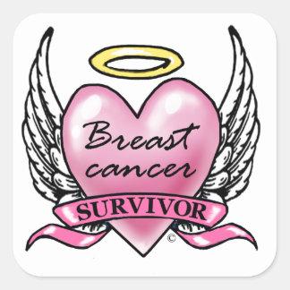 Pink Heart Survivor Square Sticker