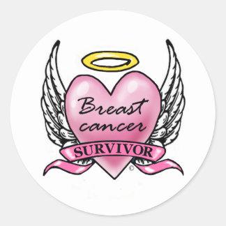 Pink Heart Survivor Round Stickers