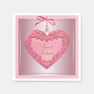 Pink Heart Sweet 16 Birthday Party Napkins Paper Serviettes