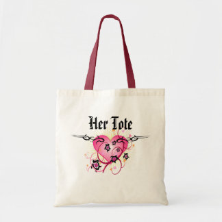 Pink Heart Tattoo Tote Budget Tote Bag