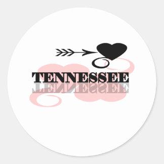 Pink Heart Tennessee Round Sticker
