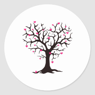 Pink Heart Tree Silhouette Classic Round Sticker